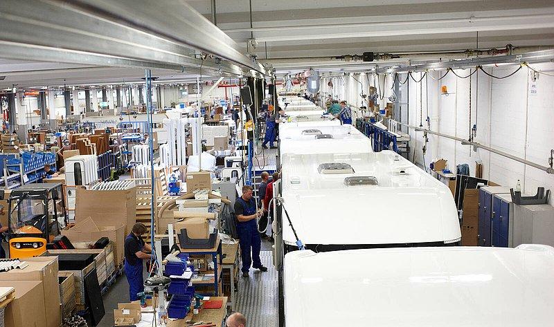 Produktionshalle im Fockbeker Wohnwagenwerk